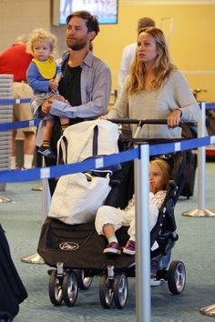 We love this shot of Tobey Maguire and family at the airport, traveling with their trusty City Mini Double Stroller. Have you ever flown with your Baby Jogger stroller?