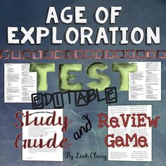 This review game, study guide, and editable test make a great summative assessment for a unit on The Age of Exploration.