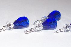 Blue crystal charms or drop 4pcs  wire wrapped by BeadsofPlenty, $4.00