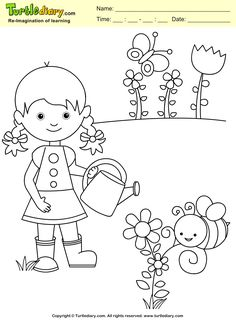 Garden coloring pages - Spring Garden Coloring Page Kids Crafts Coloring TurtleDiary ChildEducation Drawing Sheets For Kids, Drawing Lessons For Kids, Coloring Sheets For Kids, Art Drawings For Kids, Art For Kids, Crafts For Kids, Kids Fun, Garden Coloring Pages, Spring Coloring Pages