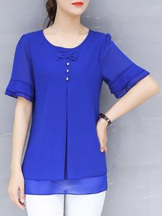 Solid Flods Bow Casual Frill Sleeve Chiffon Plus Size Blouse Blouse Styles, Blouse Designs, Chiffon, Blouse Online, Plus Size Blouses, Short Sleeve Blouse, Short Sleeves, Jacket Style, Types Of Sleeves