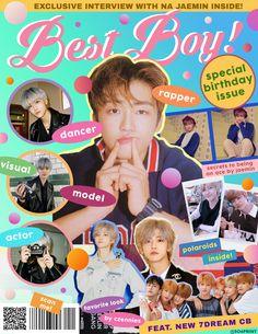 Bts Poster, Graphic Design Inspiration, Retro Graphic Design, Kids Diary, Popteen, Kpop Posters, Nct Dream Jaemin, Na Jaemin, Kpop Fanart