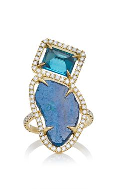 MO Exclusive: 18K Gold London Blue Topaz And Azurite Ring - Jordan Alexander Spring Summer 2016 - Preorder now on Moda Operandi