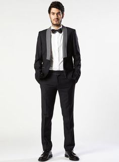 NAVY AND GREY SHAWL SKINNY SUIT @ TOPMAN