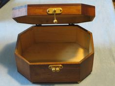 "8"" X 6"" X 4"" Wooden JEWELRY BOX hinged w/ metal clasp Mid-Century"