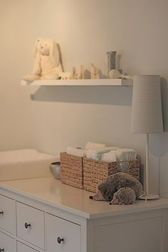HEMNES Dresser/Changing table - Use baskets to keep diapers on top of changing…