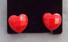 Vintage Art Deco Carved Faceted Cherry Red Bakelite Heart Earrings screw back