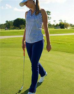 Jofit Cut Away Johnny Collar Golf Polo Blue Dot & Slimming Golf Pant | #Golf4Her
