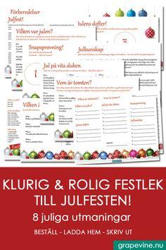 Krydda Julfesten med roliga lekar från grapevine. Ladda ner och skriv ut direkt. #julfest #julquiz #frågesport #festlekar #julbord Grape Vines, Bullet Journal, Velvet, Vineyard Vines, Vines