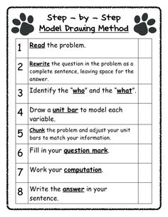 Step - by - Step Model Drawing Method Read the Rewrite the question in the problem as complete sentence, leaving space for the an… 2nd Grade Math Worksheets, Third Grade Math, Fourth Grade, Second Grade, Math In Focus, Interactive Math Journals, Math Blocks, Teaching Math, Maths