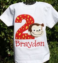 Appliqued and Personalized Curious George Birthday Shirt. $23.00, via Etsy.