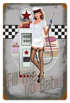 Vintage and Retro Wall Decor - JackandFriends.com - Retro 50's Pump Girl  - Pin-Up Girl Metal Sign, $39.97 (http://www.jackandfriends.com/retro-50s-pump-girl-tin-sign/)