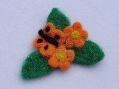 Orange Needle Felted Flower Butterfly Pin by PeacePinesStudio