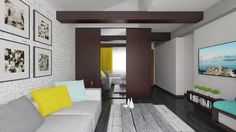 Livingroom design and rendering created by Puncto. Attic Apartment, Apartment Design, 3d Design, Living Room Designs, Apartments, Layout, Mirror, Interior Design, Furniture