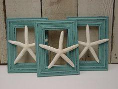 FLOATING FINGERLING STARFISH / set of 3 / shabby aqua frames / beach theme wedding decor / shabby beach cottage chic