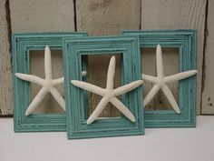 FLOATING FINGERLING STARFISH / set of 3 / shabby aqua frames / beach theme wedding decor / shabby beach cottage chic