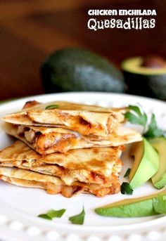 Seasoned chicken with enchilada sauce and low-fat cheese in crispy quesadillas. Easy weeknight dinner!