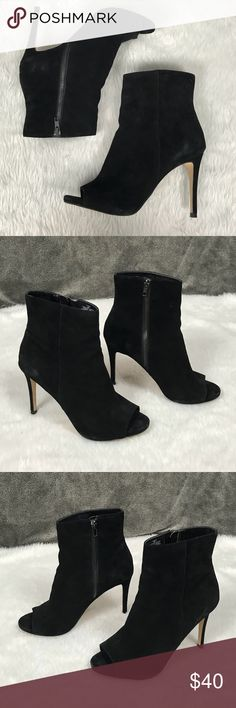 "💥Steve Madden 'Ladee' peep-toe heeled boots black Steve Madden 'Ladee' black suede peep-toe, zippered, heeled ankle boots •Velvety suede feel (genuine leather) •4 1/4"" heel •Functional zippers on the insides •Lightly worn- great condition! •Minor wear to the toes, heels & bottoms (pictured) •Love these boots! •Size 9  👢Check out similar boots in my closet 👢 ⚜️ Same/next day ship ⚜️ 🐲 Smoke-free 🐲  I do not discuss price in the comments Steve Madden Shoes Ankle Boots & Booties"