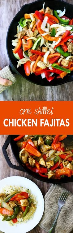 These chicken fajitas are an easy, one-skillet meal full of sweet and spicy flavors | The Small Town Foodie
