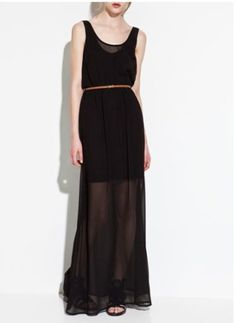 High-waist chiffon see-through long dress with belt - US$ 19.00