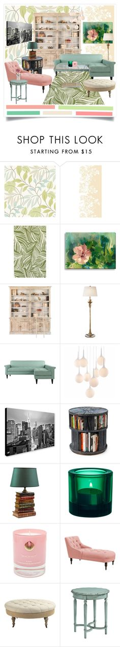 """Color Challenge: Green and Blush"" by emylnr ❤ liked on Polyvore featuring interior, interiors, interior design, home, home decor, interior decorating, Timorous Beasties, Oriental Weavers, AERIN and Zuo"
