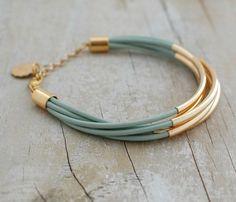 Bohemian Leather Multi-strand Bracelet, Teal Blue w/ Gold Tube Beads, Multi strand leather wrap bracelet, Boho Jewelry, Seafoam cuff on Etsy, $36.07