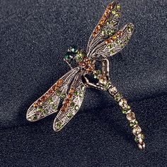 New Charming Jewelry Women's Vintage Noble Dragonfly Crystal Scarf Pin Brooches