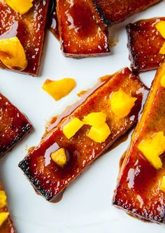 Korean Barbeque Tofu with Pineapple and Mango Vegan, Gluten-free).
