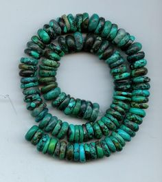 Real Turquoise 11 mm Diameter Rondelle Beads 16 Inch Strand Lot # 32
