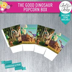 Your place to buy and sell all things handmade Custom Party Invitations, The Good Dinosaur, Dinosaur Party, Popcorn, Card Stock, Happy Birthday, Good Things, Digital, Box