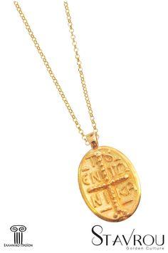 Παιδικόμενταγιόν, κωνσταντινάτο δύο όψεων,σε οβάλσχήμα, με ανάγλυφο εν τούτω νίκα μπροστά #παιδικά_κοσμήματα #γεννητούρια #κωνσταντινάτα #κοσμήματα_χαλάνδρι Gold Necklace, Jewelry, Jewellery Making, Jewels, Jewlery, Gold Necklaces, Jewerly, Jewelery, Jewel