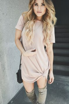 Caitlynn Lawson - Windsor Store Blush Pink T Shirt Dress, Windsor Store Over The…