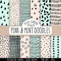 Handgezeichnete Mint und Pink Doodle Digital Papiere. Minze Doodle geometrische Muster. Hand gezeichneten Chevron, Polka Dots, Streifen. von PixelGardenDesign auf Etsy https://www.etsy.com/de/listing/246587503/handgezeichnete-mint-und-pink-doodle
