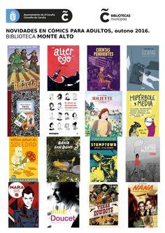 Novidades de outono en  cómics para adultos da biblioteca Monte Alto.