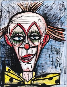 Bernard BUFFET ( 1928 - 1999 ), Clown au fond bleu, 1991