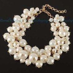 maxi collar de perlas beige                                                                                                                                                      Más