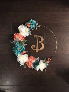 39 Modern Spring Floral Hoop Wreath for Home Decor Teal Nursery, Baby Girl Nursery Themes, Boho Nursery, Coral Baby Showers, Teal Rooms, Modern Wreath, Teal Flowers, Floral Hoops