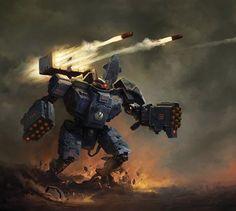Tau Battlesuit by Andrius Anezin Warhammer 40k Art, Warhammer Models, Warhammer Fantasy, Warhammer Tabletop, Tau Battlesuit, Tau Army, Tau Empire, Dc Comics, Space Marine
