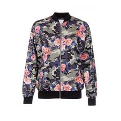 Quiz Multicoloured Camouflage Flower Print Bomber Jacket ($20) ❤ liked on Polyvore featuring outerwear, jackets, camoflauge jacket, floral print jacket, floral jacket, khaki bomber jacket and camo bomber jacket