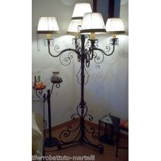 LAMPADA a STELO . PIANTANA in Ferro Battuto . Realizzazioni Personalizzate . 482 Decor, Floor Lamp, Lamp, Flooring, Chandelier, Wrought Iron, Iron Floor Lamp, Ceiling Lights, Wrought Iron Floor Lamps