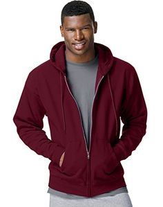 Hanes Comfortblend EcoSmart FullZip Hood 78 Oz Sweatshirt Maroon M ** Click on the image for additional details. (This is an affiliate link)