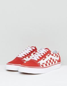 vans old skool rouge carreaux