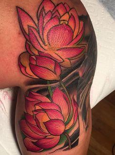 Lotus Flower Tattoo | artbytommyblog Arm Tattoos Lotus Flower, Lotus Tattoo Men, Lotus Tattoo Shoulder, Mandala Tattoo Back, Men Flower Tattoo, Lotus Flower Tattoo Design, Tattoo Nightmares, Tattoos Realistic, Garden Tattoos
