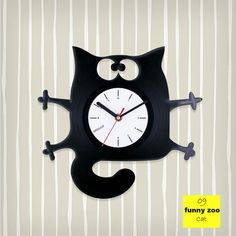 Cat kids gift vinyl clockCat vinyl record clock by Artzavodstudio