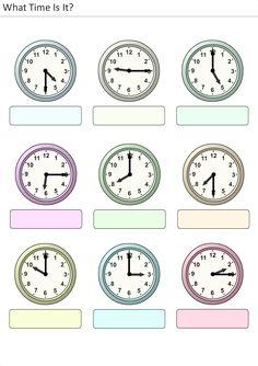 Actividades para niños preescolar, primaria e inicial. Plantillas con relojes analogicos para aprender la hora diciendo que hora es. Que hora es. 19