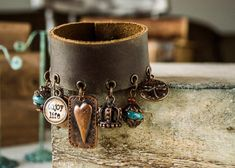 Bohemian Leather Bracelet with a row of charms at the bottom: blue ceramic beads, brown bronzite stone and a lot of antique charms.  ♥ ♥ ♥ Important!!!
