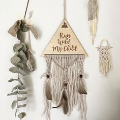 ↞ RUN WILD MY CHILD ↠  I can vision this hanging huge with mixtures of fibres/crystals/feathers...but I also like him small & simple like this. You asked for 'boys' decor so I'm working on lots of samples....but I'd love to know what vibe do you like for boys decor? (....Stay up to date with all my creations on Insta stories✌🏼️)