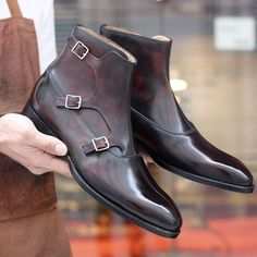 Handmade Men brown triple monk Boots, Mens fashion style ankle leather boots - Boots