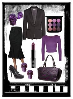 corporate goth 3 purple haze by venusmantrap on Polyvore featuring WearAll, H&M, Kreepsville 666, MAC Cosmetics and Lord & Berry