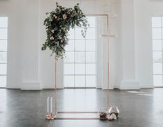 Industrial, Crystal Chic Styled Bridal Shoot: Cool Copper & Romantic Rose Quartz! Love this backdrop, so minimal and lush